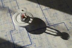 Testa di spruzzatore e cianografie Fotografia Stock Libera da Diritti