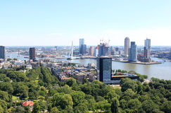 Testa di sud e di Erasmusbridge, Rotterdam, Olanda Fotografia Stock Libera da Diritti