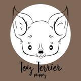 Testa di Toy Terrier su fondo bianco Vector l'illustrazione, l'elemento di progettazione per le carte, le insegne ed altra Fotografia Stock Libera da Diritti