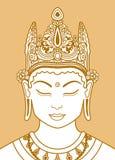 Testa di un Buddha in una corona Fotografie Stock