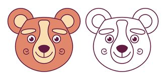 Testa di un orso a colori illustrazione vettoriale