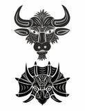Testa di un toro e del triceratopo in bianco e nero royalty illustrazione gratis