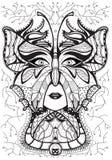Testa di una donna in una maschera della farfalla Linea nera su fondo bianco Linea disegno di arte immagine stock libera da diritti