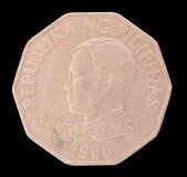 Testa di una moneta di piso 2, pubblicata dalla Repubblica delle Filippine nel 1986 che descrive il ritratto del primo presidente Immagine Stock