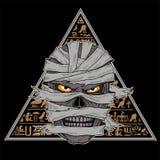 Testa di una mummia contro un fondo dei geroglifici royalty illustrazione gratis