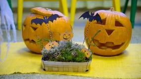 Testa di una zucca sorridente per Halloween, Immagini Stock