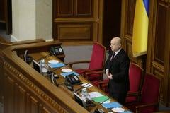 Testa di Verkhovna Rada Olexander Turchynov nel corso della riunione del Parlamento 27 novembre 2014 Immagini Stock Libere da Diritti