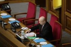 Testa di Verkhovna Rada Olexander Turchynov nel corso della riunione del Parlamento 27 novembre 2014 Fotografia Stock Libera da Diritti