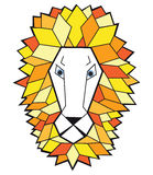 Testa di vettore del leone su fondo bianco Immagine Stock
