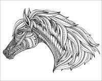 Testa disegnata a mano del cavallo nello stile decorato grafico Immagini Stock