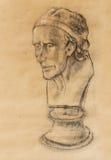 Testa disegnata a mano, mezzo fronte dell'illustrazione Matita assorbita busto del gesso Ritratto di profilo Busto di Voltaire da Fotografie Stock Libere da Diritti