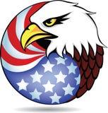 Testa e bandiera americana dell'aquila Fotografia Stock