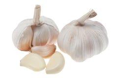 Testa e chiodi di garofano dell'aglio su fondo bianco Immagini Stock Libere da Diritti