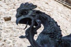 Testa e collo della parte superiore del ` s del drago del ferro Immagini Stock Libere da Diritti