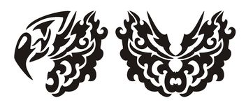Testa e farfalla decorative dell'aquila nello stile tribale Fotografia Stock