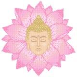 Testa e Lotus Cross Stitch di Buddha Fotografia Stock Libera da Diritti