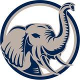 Testa Front Retro dell'elefante illustrazione vettoriale