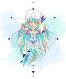 Testa modellata del leone con la geometria Fotografia Stock Libera da Diritti