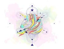 Testa modellata dell'unicorno con la geometria Immagini Stock Libere da Diritti