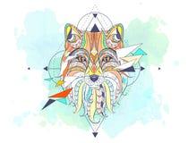 Testa modellata della volpe con la geometria illustrazione di stock