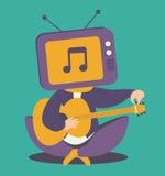Testa Person Tuning Guitar della TV Fotografie Stock Libere da Diritti