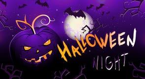 Testa, pipistrelli e testo del withpumpkin dell'illustrazione di Halloween di vettore Fotografie Stock