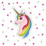 Testa rosa dell'unicorno, toppa royalty illustrazione gratis