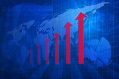 Testa rossa della freccia con il grafico finanziario e mappa sul fondo della città, Fotografia Stock Libera da Diritti