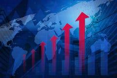 Testa rossa della freccia con il grafico finanziario e mappa sul fondo della città, Immagine Stock Libera da Diritti