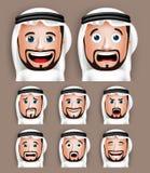 Testa saudita realistica dell'uomo con differenti espressioni facciali Fotografia Stock Libera da Diritti