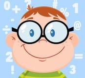Testa sorridente del ragazzo del geek con fondo ed i numeri Fotografie Stock Libere da Diritti