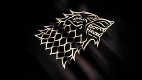 Testa spaventosa del lupo nella vista di profilo sulla bandiera commovente serica nera con abbagliamento, ciclo senza cuciture Di immagini stock libere da diritti