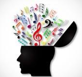 Testa umana aperta con i simboli musicali di colore Immagini Stock