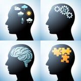Testa umana con i concetti del cervello illustrazione vettoriale