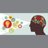 Testa umana con l'illustrazione di vettore degli ingranaggi Illustrazione umana di concetto di vista con le icone nello stile pia Fotografia Stock