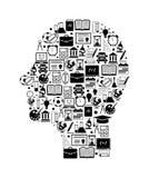 Testa umana con le icone di istruzione Fotografia Stock Libera da Diritti