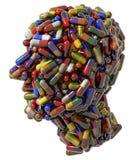Testa umana creata delle pillole mediche Fotografie Stock Libere da Diritti
