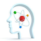 Testa umana del cervello di simbolo di scienza della molecola dell'atomo Immagini Stock Libere da Diritti