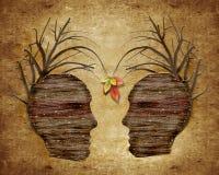 testa umana e foglie di legno Fotografia Stock Libera da Diritti