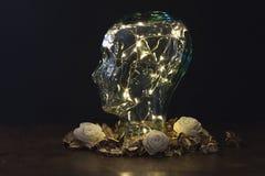 Testa umana fatta di vetro con le luci dentro su fondo scuro immagini stock libere da diritti