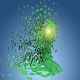 Testa umana verde nei pezzi Fotografia Stock