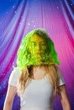 Testa verde della copertura della campana dell'acqua della donna Immagine Stock
