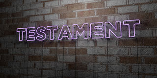 TESTAMENT - Glowing Neon Sign on stonework wall - 3D rendered royalty free stock illustration Royalty Free Stock Image