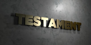 Testament - Gold text on black background - 3D rendered royalty free stock picture Stock Images