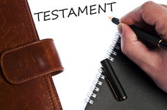 Testament message. Testament write by male hand Stock Photo