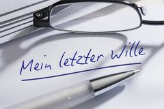German Last Will And Testament. A last will and testament written in German royalty free stock photo