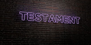 TESTAMENT -Realistic Neon Sign on Brick Wall background - 3D rendered royalty free stock image Stock Photo