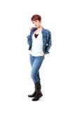Testarossa in jeans e collare schioccante del rivestimento del tralicco Immagini Stock