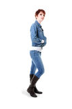 Testarossa in jeans e rivestimento del tralicco Immagine Stock