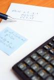 Teste da escrita na escola Foto de Stock